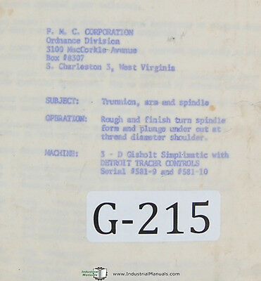 Gisholt 3-d Simplimatic Lathe Detroit Tracer Control Operations Manual 1963
