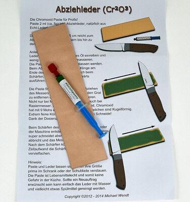 Abziehleder Set Chromoxidpaste für Profis (5g/2ml), Abziehriemen, Streichriemen ()