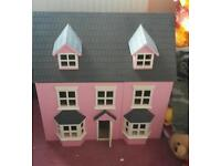 Wooden doll toy play house