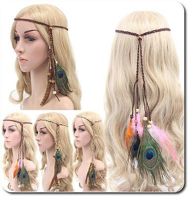 Haarband Federn Hippie Festival  Pfau Stirnband Pfauenfeder Haarschmuck