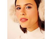 Ladies Champagne Cream Coloured Faux Fur Ear Muffs Protectors.