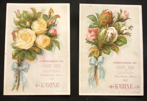 Kazine Grant Bros Grocers Victorian Trade Card Lot of 2 - Faulkner, Mass. 6-02