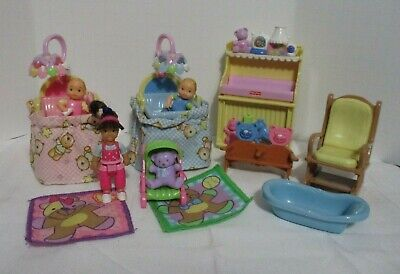 Fisher Price Loving Family Dollhouse Twins Baby's Cribs Little Sister & More  for sale  Shipping to India