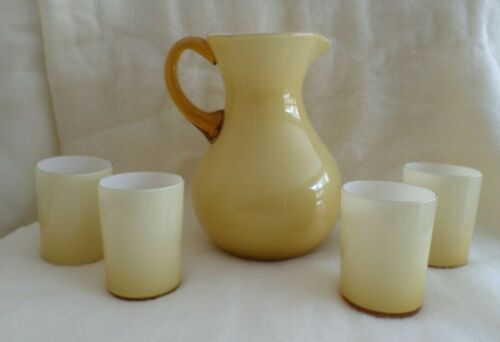 Vintage Pitcher & Tumblers CASED GLASS