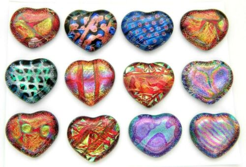 PREMIUM set of 12 HEARTS MEDIUM DICHROIC FUSED GLASS (Y2) CABS MOSAIC HANDMADE