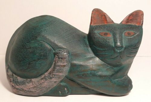 "Large Folk Art Carved Painted Wooden CAT Figure Statue 11"" Long, 5 lbs"