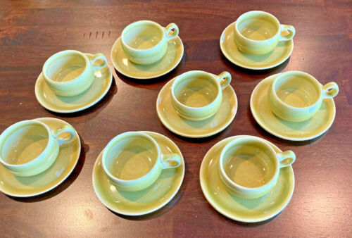 Russel Wright Demitasse Cups & Saucer - Set of 8 - REDUCED - Chartreuse