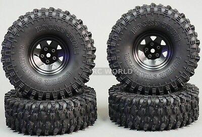 1/10 SCALE TRUCK RIMS 1.9 STEEL STAMPED Beadlock Wheels 120MM Rock Tires BLACK - Scale Truck Wheels