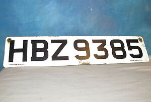 Vintage Euro License Plate Ireland Irish Bairds HBZ 9385 Number Tag J966