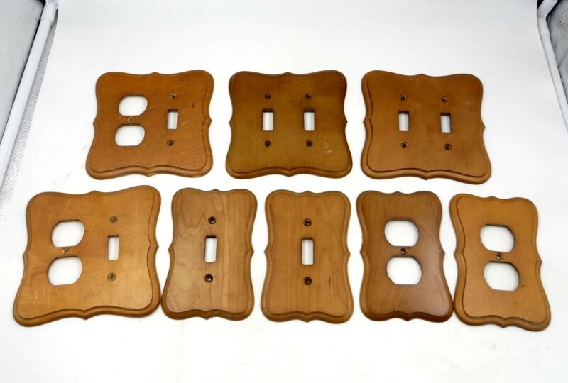 Vintage Mid-Century Lot of Maple Wood Wall Switch & Outlet Plate Covers