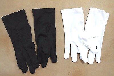 Short White Gloves ( WRIST GLOVES DANCE EASTER THEATRICAL BLACK WHITE 100% nylon short)