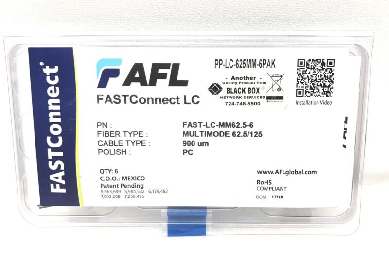 PAKC OF 6 FASTConnect FAST-LC-MM62.5-6 Field-Installable LC Connector NEW