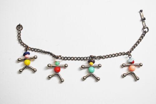 Vintage Bracelet People Children Glass Metal Playful Art Color Bracelet