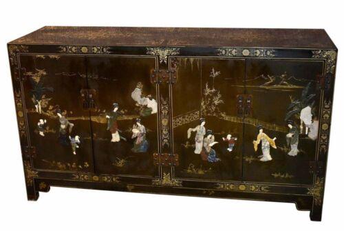 Vintage Four Door Asian Hand Painted Cabinet w/Stone Appliqués