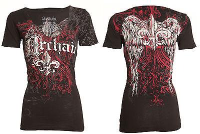 - Archaic AFFLICTION Womens T-Shirt WING Fleur Tattoo Biker Rock UFC Sinful $40