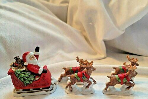 Set/ 5 HOMCO Santa in Sleigh & 4 Reindeer Figurines, #5409 ,1993 Ceramic
