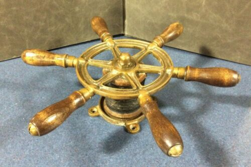 Rare Old Perko Ships Steering Wheel Wood&Brass~Antique Nautical Maritime Boat