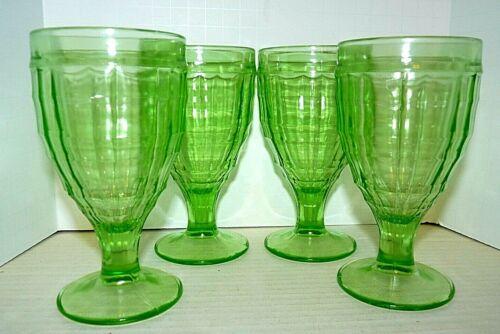 Hazel Atlas Green Vaseline Glass Goblets Colonial Block Modernistic Set of 4