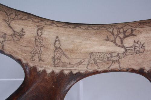 Fine C. 1900 LAPLAND Reindeer Scabbard w/ SCRIMSHAW FIGURES, Sami People