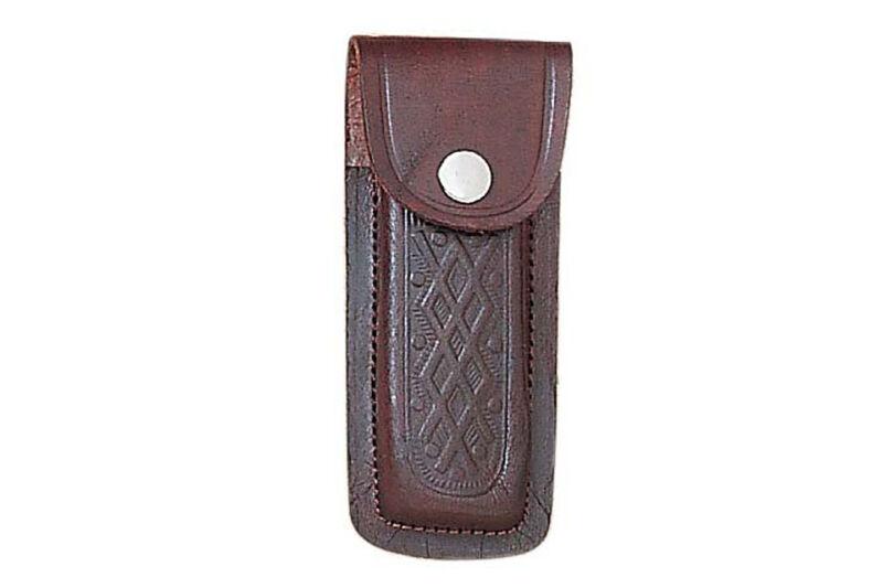 """5"""" Pocket Folding Knife Sheath Holder Brown Printed Leather Belt Case Metal Snap"""