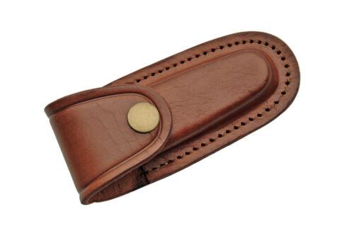 """4"""" Pocket Folding Knife Sheath Holder Brown Plain Leather Belt Case Metal Snap"""