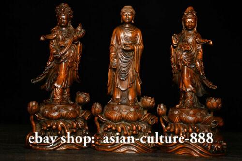 3 PCS Boxwood Wood Shakyamuni Amitabha Buddha Guanyin Boddhisattva Goodess Set