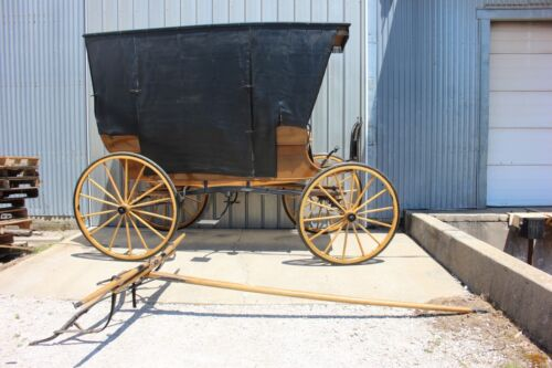Horse drawn 3 seat surrey carriage with top and side curtains team pole