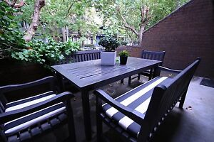 Wooden Outdoor Table and Chairs + custom cushions Surry Hills Inner Sydney Preview