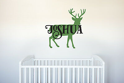 Deer Name Vinyl Decal Wall Art Decor Forest Hunting Animal Nursery Kids -