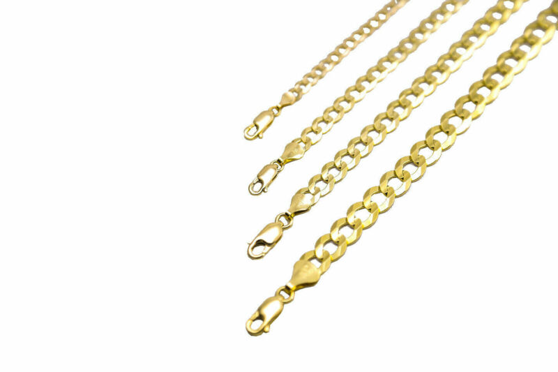 14k Solid Yellow Gold Cuban Link Chain Necklace 1.5-12mm Men