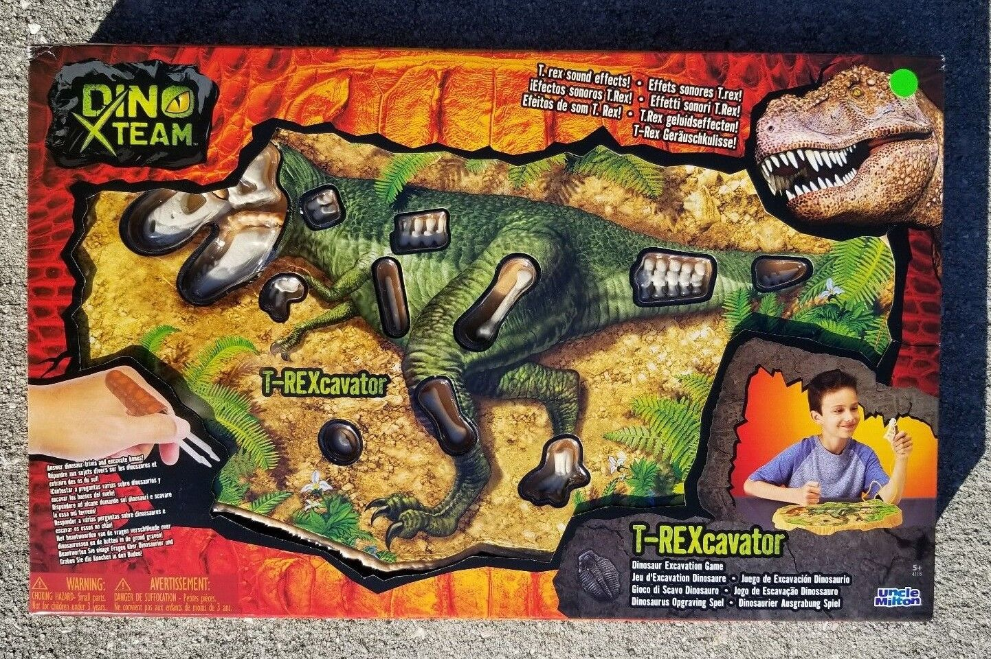 Uncle Milton Dino X-Team T-Rexcavator Game Dinosaur Sound Effects Like  Operation