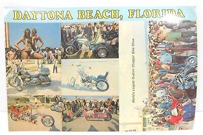 Vintage 60's Rats Hole Daytona Beach FL Bike Week Unused Postcard Harley Chopper