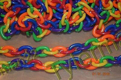 "LOT OF 10 - 32"" FUN COLORFUL PLASTIC RAINBOW CHAINS BIRD PARROT FOOT TOY PART"