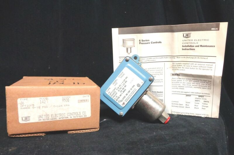 New UNITED ELECTRIC CONTROLS Pressure CONTROLS J Series J6-142-9508  NEW IN BOX