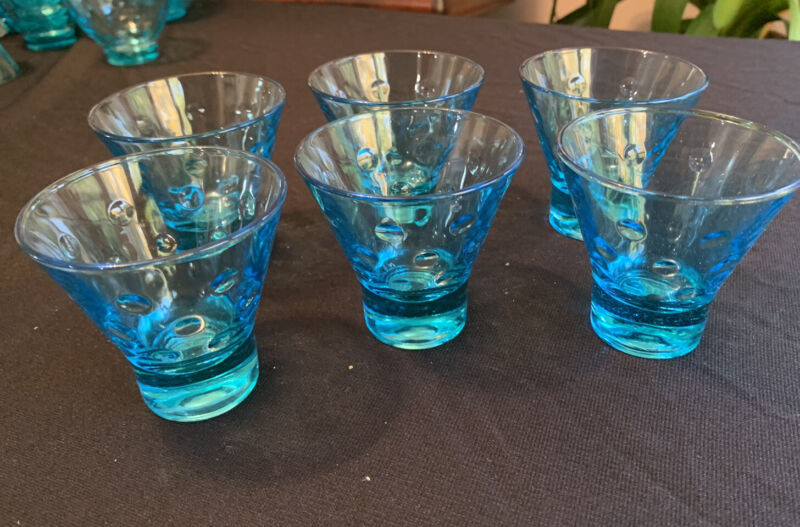 "6 Hazel Atlas Blue Capri Dots MCM Flared Whiskey Glasses 3"" 3 Oz - Turquoise"