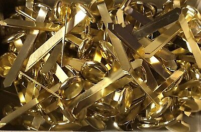 100 Officemate Paper Fasteners Rh-4 Brass Plated With Large Head 1 Prong