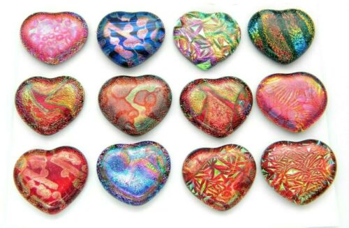 PREMIUM set of 12 HEARTS MEDIUM DICHROIC FUSED GLASS (A3) CABS MOSAIC HANDMADE