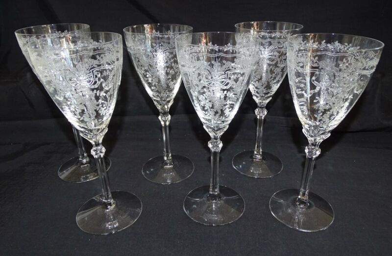 Fostoria USA June Set of 6 Crystal Clear Water Goblet / Stem