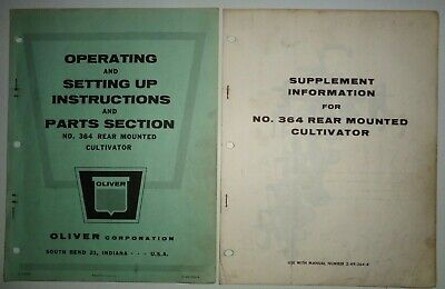 Oliver 364 Rear Mounted Cultivator Operators Parts Manual Catalog Original