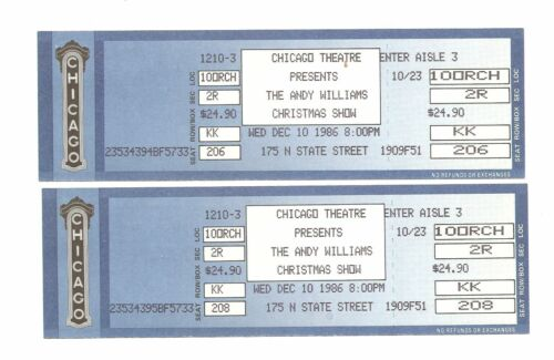 Andy Williams Unused Concert Tickets From December 10, 1986