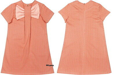 Girls Raspberry Plum 3-4 yr pink Organic cotton jacquard knit CAT dress bow Euro