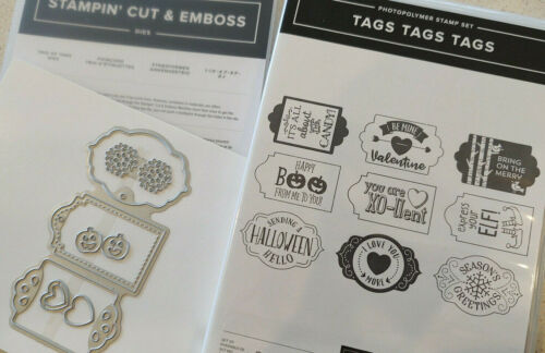 Stampin Up - Bundle - Tags Tags Tags, Trio of Tags Dies - Christmas, Halloween