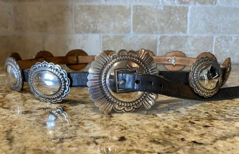James Reid Santa Fe Sterling Silver Vintage Concho Buckle Set