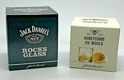 JACK DANIELS ROCKS GLASS & TENNESSEE HONEY ICE MOULD WHISKEY CUBE PUB BAR WHISKY