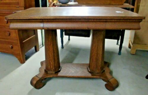 Original Oak Library Table Desk Double Pillar Made by Mersman Celina, Ohio