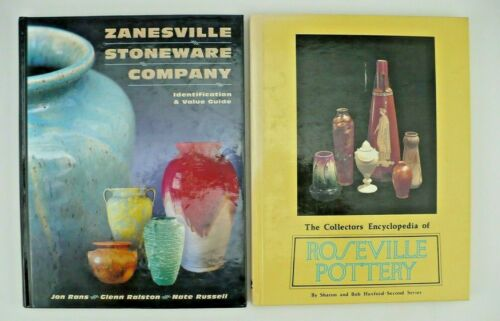 ROSEVILLE POTTERY and ZANESVILLE STONEWARE COMPANY BOOKS GUIDES
