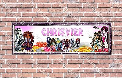 Personalized Customized Monster High Name Banner Wall Decor Poster with Frame  - Monster High Posters