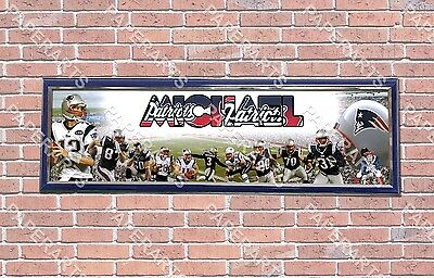 Patriotic Custom Banner - Personalized Customized New England Patriots Name Poster Sport Banner with Frame