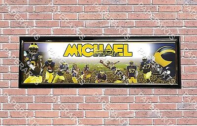 Personalized Customized Michigan Wolverines Name Poster Sport Banner with Frame