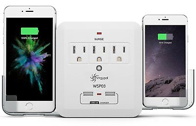 EnergyPal 3 Outlet Power Strip Surge Protector with 2 USB Ports Lightning proof